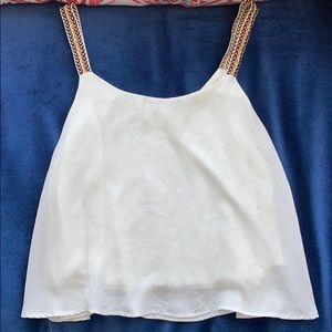 White flouncy top